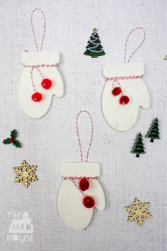 Christmas Crafts : Illustration Description How to make beautiful clay mittens Christmas decorations from air drying clay. The perfect Christmas keepsakes Christmas Activities, Christmas Crafts For Kids, All Things Christmas, Holiday Crafts, Advent Activities, Family Crafts, Christmas Ideas, Clay Christmas Decorations, Christmas Clay