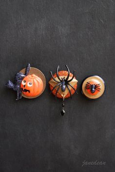 3 Halloween Fridge Magnets - black cat, pumpkin and spiders. Recycled vintage jewelry and buttons by janedean.etsy.com