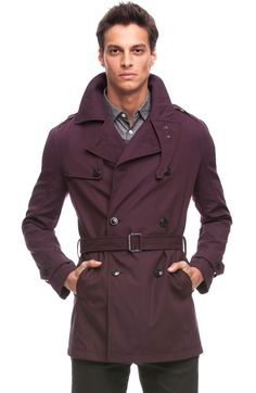 Burgundy trench coat from A|X Armani Exchange. That's a damn nice piece of outerwear.