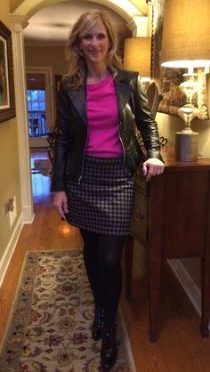 Sweater and skirt #Jcrew @jcrew Jacket #WHBM @whbm Tights #Spanx Booties #StuartWeiztman @stuartweitzman