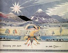 This painting by J.R.R. Tolkien, dated 1927, was published in The Silmarillion Calendar 1978. The title is in Old English letters, which J. R. R. Tolkien frequently used when writing in a formal style. At the time of the painting the name of the Father of Dragons was Glórund, not Glaurung, and for the reproduction in the Calendar I rewrote the Old English lettering in precisely similar form in order to introduce the name by which the Dragon is known in the published work. The entrance to…