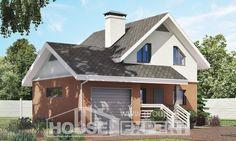 120-002-Л Проект двухэтажного дома мансардный этаж, гараж, компактный загородный дом из газобетона