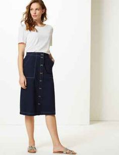 Pure Cotton A-Line Knee Length Cargo Skirt   M&S Collection   M&S