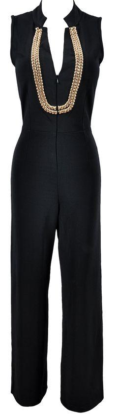 'Kara' Black Jumpsuit With Gold Embellishment Neckline  dressmesweetiedarling