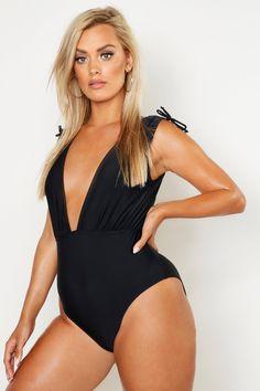 Womens Plus Tie Shoulder Plunge bathing suit - black - 18 Curvy Women Fashion, Pop Fashion, Fashion Outfits, Emily Ratajkowski Style, Women Swimsuits, Bathing Suits, Nice Dresses, Clothes For Women, Boohoo