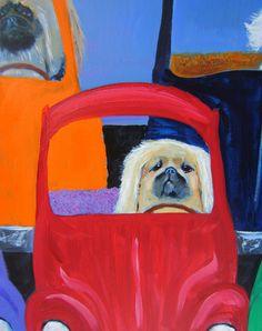 "Pekingese Art Dog Print / ""Solo In The Carpool Lane"" / by Original Mike Holzer"