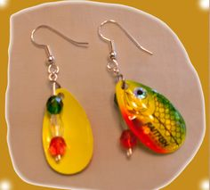 For the unique look go to www.earringsalure.com and see the fish lure earrings