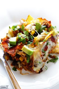 Easy Chicken Enchilada Casserole, with avacado, cilantro and sour cream. #mexican #recipes