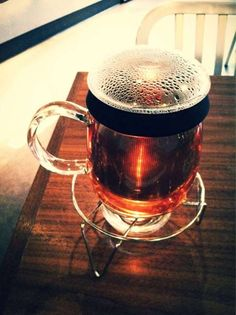 An artful tea dude snapped a pic of his brew. That looks like it hits the spot for a Winter in Seattle.