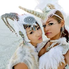 all white goddesses. Wu sisters. Burning Man.--THESE HEADDRESSES R FAB 4 A COSTUME PARTY--RP BY HAMMERSCHMID