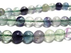 Round Polished Fluorite Beads  Real by KolibriBeadSupplies on Etsy