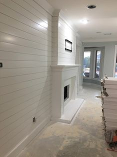 Looking to update your living room wall, remodel your fireplace, or built-in? Try Adding a Shiplap F Shiplap Fireplace, Home Fireplace, Fireplace Remodel, Living Room With Fireplace, Fireplace Design, Fireplaces, Farmhouse Fireplace, Fireplace Ideas, Feature Wall Living Room