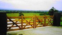 Timber Gates - Estate Series - Authentic Gates Online Store Timber Gates, Sawn Timber, Image Shows, Garden Bridge, Signage, Natural Beauty, Entrance, Hardwood, Australia