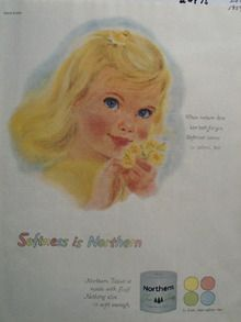 Northern Tissue Little Blond Girl Blue Eyes Ad 1959