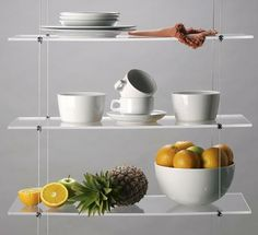 Display Cables : Acrylic / Perspex Shelves for Shopfitting Display Cables. Lack of space in your kitchen? Use cable system shelves to optimise space and display your best china!   Display items are not just for shops!