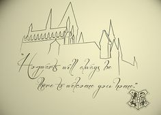 Minus the Hogwarts Crest, this is going to hopefully be my next tattoo. Hogwarts Tattoo, Hogwarts Crest, Harry Potter Castle, Harry Potter Theme, Harry Potter Diy, Harry Potter Tattoos, Harry Potter Drawings, Hogwarts Silhouette, Castle Silhouette