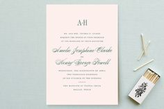 """Hepburn"" - Elegant, Classical Wedding Invitations in Rose by toast & laurel."