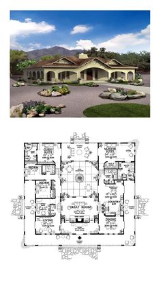 House Plan 90269 - Mediterranean, Ranch, Southwest Style House Plan with 3163 Sq Ft, 4 Bed, 4 Bath Best House Plans, Country House Plans, Dream House Plans, House Floor Plans, Hacienda Style Homes, Spanish Style Homes, Spanish House, U Shaped House Plans, U Shaped Houses