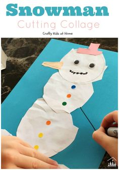 Cutting out a Snowman Collage.Does your child need to work on their scissor skills? Challenge them to cut out and make this fun Snowman Collage. Fine Motor Activities For Kids, Winter Activities For Kids, Creative Activities For Kids, Winter Crafts For Kids, Christmas Activities, Winter Fun, Winter Theme, Preschool Winter, Winter Wonder