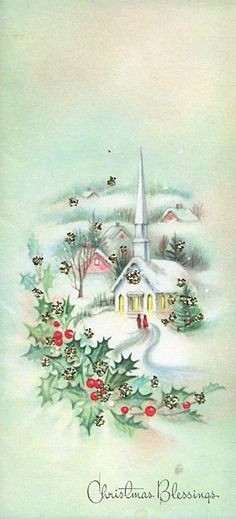 Old Christmas Post Сards — Church with town. Old Time Christmas, Old Fashioned Christmas, Christmas Scenes, Christmas Past, Christmas Greetings, Christmas Blessings, Christmas Postcards, Images Vintage, Vintage Christmas Images