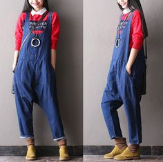 Fashion leisure overalls Female loose big yards jeans by pppyesr Overalls Women, Trousers Women, Pants For Women, Jeans Women, Clothes For Women, Denim Dungarees, Jean Overalls, Moda Jeans, Sewing Pants