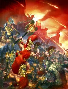 http://wellofeternitypl.blogspot.com/ Age of Sigmar Artwork | Fyreslayers vs Nurgle Daemons #artwork #art #aos #warhammer #ageofsigmar #sigmar #arts #artworks #gw #gamesworkshop #wellofeternity #wargaming