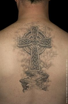 Celtic Cross Tattoos. I love the background on this.