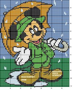 Mickey Mouse - Singing in the rain - cross stitch for plastic canvas