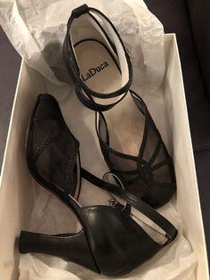 4a0ef3a6aedf NIB LaDuca Womens Black 3 Heel X-strap ballroom dance shoes size 36.5 NIB