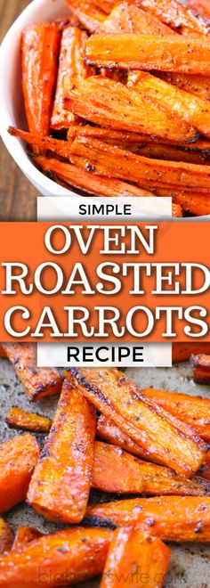 Oven Roasted Carrots - Oven Roasted Carrots make a great side dish that pairs perfect with almost any main course! These cooked carrots are oven roasted with a few seasonings and can be customized to Roasted Vegetable Recipes, Veggie Recipes, Vegetarian Recipes, Cooking Recipes, Cooking Videos, Crockpot Recipes, Salad Recipes, Oven Roasted Carrots, Cooking Carrots In Oven