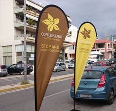 Promotional Flags and Banners Coffee Island, Studio Logo, Branding Materials, Special Promotion, Surfboard, Flags, Banners, Advertising, Park