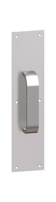 """Hager 102G-4x16 4"""" x 16"""" Rounded Bevel Square Corner 0.125"""" Gauge Pull Plate wit Polished Stainless Door Plate Pull Plate"""