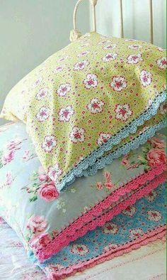 Beautiful Floral Print Pillows!!! Bebe'!!! I love The Crochet Edge on the pillows!!!