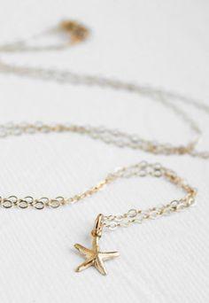 Tiny Gold Starfish Necklace