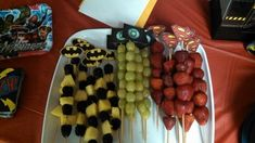 Super fruit skewers for a superhero party