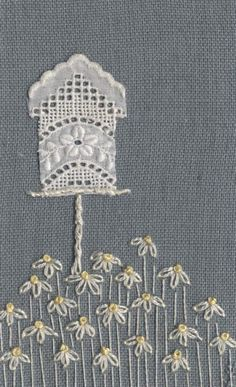 Vintage Embroidery Patterns Jo Butcher, Embroidery Artist - Bird House - so simple but so effective Hand Embroidery Patterns, Vintage Embroidery, Embroidery Applique, Cross Stitch Embroidery, Machine Embroidery, Crazy Quilting, Crazy Patchwork, Fabric Cards, Fabric Postcards