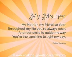 My Mother - A Poem about and for Mom,i love my mother dearly. thank u Ramona for all u do !!!!!!
