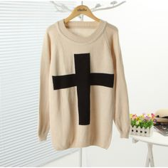 White Tone Black Cross Pattern Sweater - Sweaters - Sweaters & Knits - Clothing - Women's Style Free Shipping