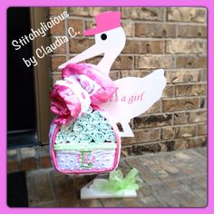 Wood strock bundle diaper cake for baby shower by Stotchylicious by Claudia C.