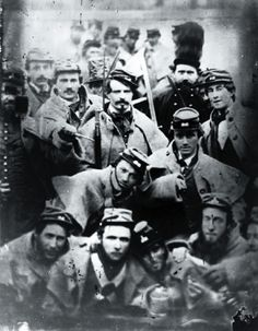 Members of the Richmond Grays militia (First Virginia Regiment) on guard duty at Charles Town, Va., during the trial of John Brown, December 1859. John Wilkes Booth temporarily joined the Richmond Grays during the trial and execution of Brown. He does not appear in this photograph. Photo courtesy Cook Collection, Valentine Richmond History Center.
