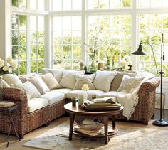 Pottery Barn Living Room Designs Ideas : Stunning Pottery Barn Living Room Designs With Glendale Pulley Task Floor Lamp Also Rattan L Shaped Sofa Ideas Sunroom Furniture, Furniture Upholstery, Outdoor Furniture Sets, Furniture Ideas, Sofa Ideas, Wicker Furniture, Luxury Furniture, Furniture Design, Pottery Barn