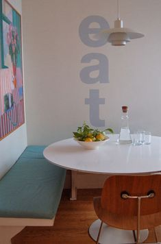 Hand painted kitchen command in Helvetica from sneak peek: christina weber of studio patrio