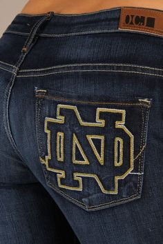 OCJ Apparel | Premium Collegiate Denim | Notre Dame Fighting Irish Bootcut Jeans Branded in Deep Indigo | www.ocjapparel.com