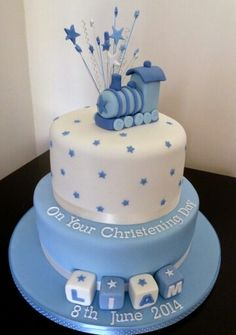33 Unique Christening Cake Ideas with Images Blue Train with Star Wands Christening Cakes for Boys Baby Boy Christening Cake, Baby Boy Cakes, Baptism Cakes, Baby Boy Christening Decorations, Baby Shower Cakes For Boys, Dedication Cake, Gateau Baby Shower, Bolo Minnie, Fig Cake