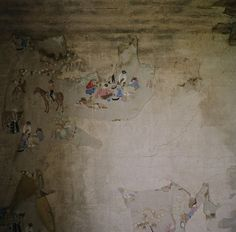 Amy Fichter, Menomonie, Wisconsin,  Cowboys  In an upstairs room of an abandoned house, remnants of 1950s wallpaper remind us of that era's hopes for boys everywhere: find adventure, conquer the great unknown, grow into a real man. Embody the good old days.