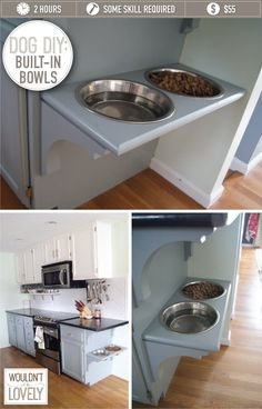 LOVE These!! Dog-bowls mounted to the cabinets. Adjust to a comfortable height for YOUR pet!