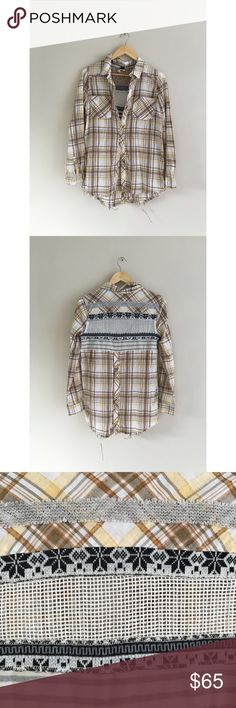 Free people sweater plaid button down festival top Gorgeous and wicked cool unique. So many different little details. Perfect for festivals or summer nights. Size M Free People Tops Button Down Shirts