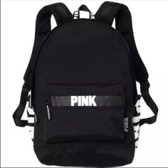 🆕 Victoria Secret Black Campus Backpack 2016 😎☀️ Brand new with tags PINK Victoria's Secret Bags Backpacks Mochila Adidas, Mochila Kpop, Victoria Secret Rucksack, Mochila Victoria Secret, Rucksack Bag, Backpack Bags, Fashion Backpack, Backpack 2017, Messenger Bags