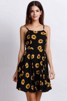 Sunflower Print Spaghetti Stripe Mini Dress - OASAP.com