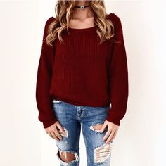Casual Maroon Sweater (£43) ❤ liked on Polyvore featuring tops, sweaters, red sweater, maroon sweater, maroon top, red knit top and night out tops
